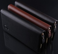 M02 new 2014 brand genuine leather men's wallet clutch carteira money bags for men black coffee purse