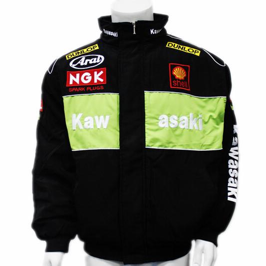 F1 KAWASAKI carro roupas automóvel corrida outerwear manga longa de algodão acolchoado casaco bordado rj 070w(China (Mainland))