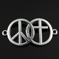 10pcs/lot 41*21mm Antique Silver Plated Peace Sign & Cross Charms