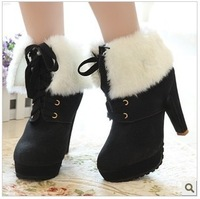 Free Shipping women Winter Boots Thick Heel Boots pu Leather Women's High-Heeled Winter Cotton-Padded Shoes Martin Boots