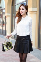 2013 autumn small leather skirt bust skirt all-match PU ruffle pleated skirt dress short
