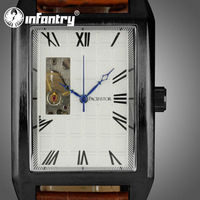 INFANTRY Men's Swiss Designer See Through Mechanical Wrist Watch Roman Numbers Brown Leather Gift Idea NEW
