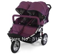 Classcial Purple Fashion Love Plus Baby Twins Stroller Twin Baby Car Baby Outdoor Item Big Air Wheel