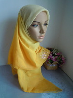 mu1394 wholesale with gorgeous hot fix rhinestone muslim square scarf gradient scarf  elegant islamic hijab