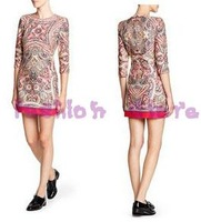 2013 New Fashoin Colorful Geometry Printed Women Dress Brand Design Half Sleeve Slim Lady vintage Dress