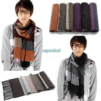 2013 New Fashion Men's Tassel Stripe Designs Scarf Neck Warm Long Wrap Classic Scarves 19160 Z