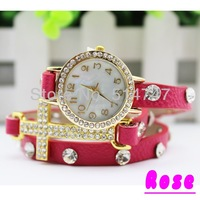Free Shipping Fashion Bracelet Watch Cross Crystal Leather Chain Women's Quartz Wristwatch Christmas Watches W012