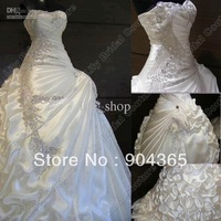 Free shipping  Custom Made Ball Gown strapless satin ruched  lace up back  Wedding Dress 2013 Beaded Hot Sale  Bridal Gown