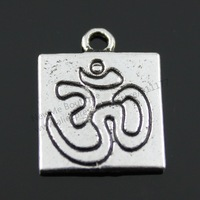 20pcs/lot 18*15mm Antique Silver Plated Double Side OM Sign Charms
