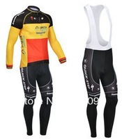 Free shipping!2013 quick step belgium winter thermal fleece long sleeve cycling jerseys + bib pants set/bike clothing