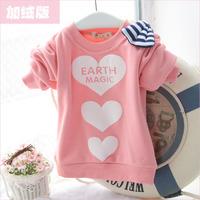 Female child baby 2013 autumn 100% cotton basic shirt thickening sweatshirt pullover