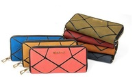 FREE SHIPPING!!2014New Fashion Nubuck Leather rhombus Joining together zipper long lady women wallets purse handbags