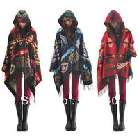 Women Ladies Cape Coat Check Tartan Plaid Fringe Poncho Hoodie Hooded Bohemian Shawl Tassel Scarf Scarves Warm Wrap Fashion New
