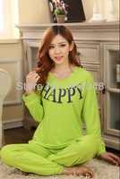 2013 autumn winter women long sleeve letter HAPPY green pajamas / casual homewear / comfortable nightwear