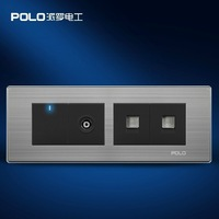 Free Shipping, POLO luxury wall socket switch panel,110~250V, 1 gang TV/Computer/Telephone socket light switch Smart Home