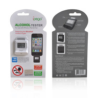 Hot sale 10pcs LCD Display Keychain Alcohol Tester Breath Alcohol Tester Breathalyser Power from iPhone 4 4S
