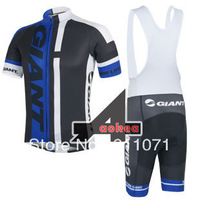 Free Shipping! Maillot Short Sleeve Cycling Jersey And (Straps)Bib Shorts 2014 Giant Team Cycling Wear Bicycle Clothes Set