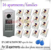 Multi-Unit Video door phone intercom systems For 16 families/households Support ID CARD and PASSWORD open the door function