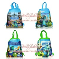 New arrival! Free shipping 12PCS Monster university Non-woven fabrics Kid's School bag ,Cartoon Drawstring Backpack Bags