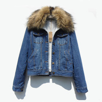 New Arrived Autumn Korean Large Fur Collar Thicken Women Denim Jacket Winter Turn Down Collar Plus Size Coat M1204