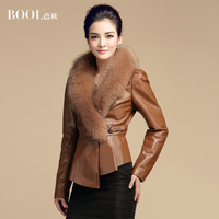 2013 Winter women's new arrival fox fur slim leather clothing outerwear  sheepskin genuine leather down coat EMS freeshipping