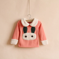 Free Shipping Children's clothing rabbit berber fleece plus velvet thickening t-shirt sweatshirt basic fleece shirt