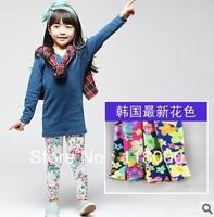 2013 hot sales children girls 5pcs/lot flower print cotton leggings many colors