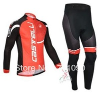 Free shipping!2013 Castelli red winter cycling wear/long sleeve thermal fleece cycling jersey and pants set/bicycle clothes