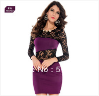 Long sleeve Women's Fashion lace hollow sexy nightclub dresses  women European  evening club lace party dress
