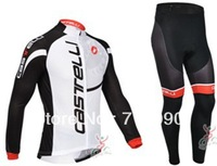 Free shipping!2013 Castelli team white cycling wear/long sleeve thermal fleece cycling jersey and pants set/bicycle clothes