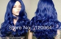 NEW dark blue long Hair Heat Resistant Spiral Curly Cosplay Wig