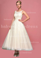 2014 New Arrival Amazing Sleeveless A Line Lace Tea Length Short Wedding Dresses Free Shipping BO3235