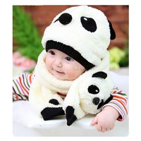 4 Colors 2pcs/set New Arrival Baby Beanie Hat Unisex Girl Boy Toddler Infant Hats Cap + Scarf Panda Cartoon 18499 Z
