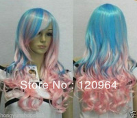 New Sexy light Pink & Blue Mix curly color Cosplay hair Wig wigs