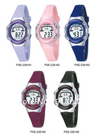 High Quality PASNEW W/Proof Girls Sport Digital Wrist Watch Pink PV Strap Free Shipping