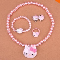 Plastic Pearl Baby Jewelry Cheap Child Girl Kids Accessories Sets Hello Kitty Bead Necklace Bracelet Ring Earring Sets Wholesale