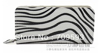 2013 Genuine Leather Zebra grain leather long wallet  restore ancient ways zipper lady's purse handbag( 6001)