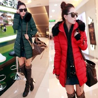 new 2013 winter fashion women's down slim solid coat cuff ruffle collar fur medium-long 4color H28 Free Shipping