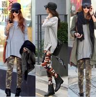 Womens Graffiti harajuku Style Slim Camouflage clothing tretch Trouser Army Leggings Pants  women pants ARMY print leggings