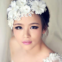 Free Shipping Fashion Crystal Pearl Wedding Head Flowers Lace Bridal Headwear Bridal Hair Accessories