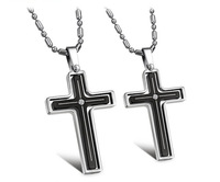 Fashion Pure Simple Style Rhinestone 316L Stainless Steel Rotatable Cross Pendant Necklace Set for Lovers Free Shipping