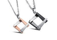 Fashion Korean Jewelry Young Innovative Style Wooden Frame 316L Stainless Steel Pendant Necklaces Set for Lover Free Shipping