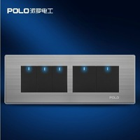 Free Shipping,POLO luxury wall switch panel,197MM*72MM, LED panel, Light switch, Tap switch,110~250V,5 Gang 2 Way,Smart Home