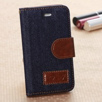 New Hot Cowboy Series Denim Fabric+Top Luxury Leather Flip Wallet Stand Magnet Buckle Case For Iphone 4 Free Shipping 20pcs/lot