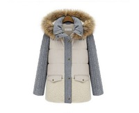 Free Shipping! Women's Stylish Color Block Detachable Fur Hooded Warm Coat  and jackets, down parkas, women outerwear