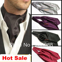 Hot Selling Fashion Men's Ascot Tie Cravat Tie Black Grey Color Multi-Colors Available Free Shipping #1627