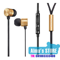 the same with xiaomi piston design  pink and tuhao gold in ear earphone with mic and remote for Samsung android xiaomi phones