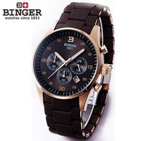 Hot sale!!! BINGER accusative authentic Swiss watches men stainless full steel watch waterproof Hunter series .FREE SHIPPING
