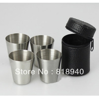 4 X Stainless Steel Cups Cover Mugs Drinking Coffee Liqour Beer Wine Whisky Tea Outdoor Camping Hiking Travel Tumbler Mini 30ml