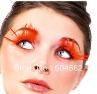 red long feather  color a pair party exaggerated false eyelashes feathers Super brand new